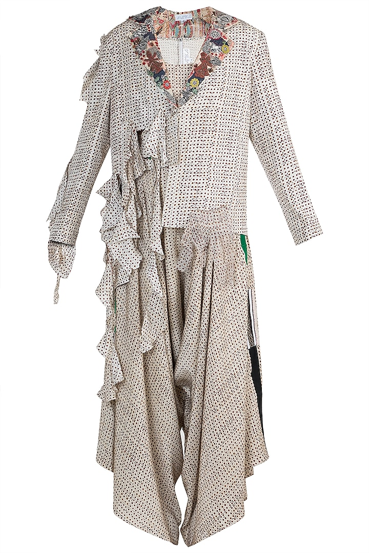Cream Printed Deconstructed Blazer With Top & Draped Pants by Anamika Khanna