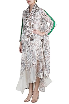 Cream Printed Jacket With Skirt by Anamika Khanna
