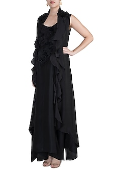 Black Jacket With Textured Embroidered Dress by Anamika Khanna