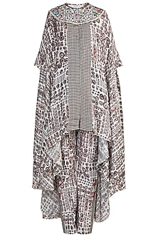 Cream Printed Cape Top With Pants by Anamika Khanna