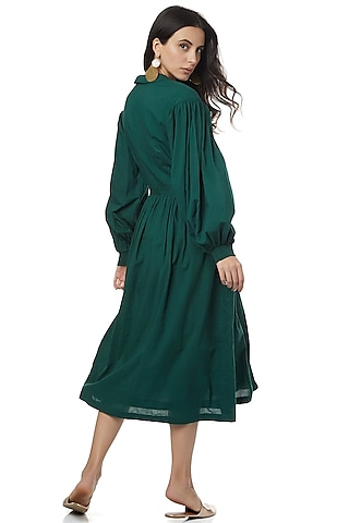 Emerald Green Dress With Bishop Sleeves by Ankita