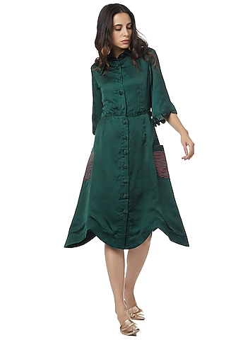 Emerald Green Dress With Cinched Waist by Ankita