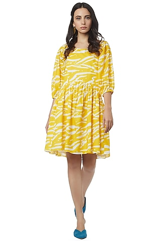 Yellow Gathered Mini Dress by Ankita
