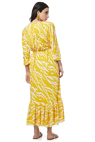 Yellow Dress With Pleats by Ankita