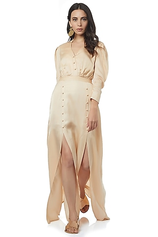Beige Maxi Dress With Slit by Ankita