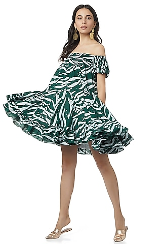 Emerald Green Printed Dress by Ankita