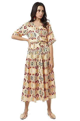 Beige Dress With Gathers by Ankita