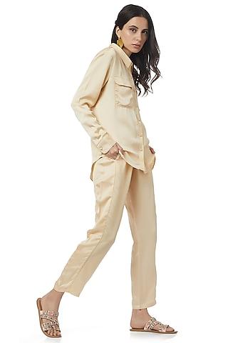 Beige Pants Set by Ankita
