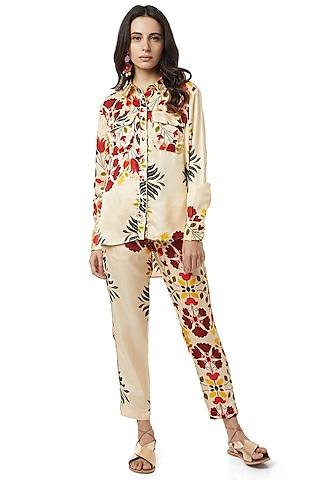 Beige Floral Printed Pants Set by Ankita