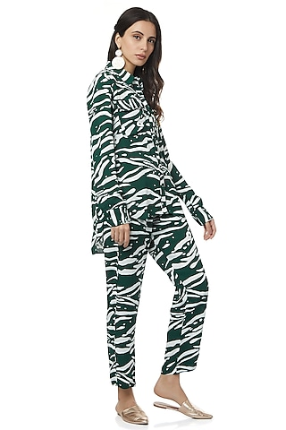 Emerald Green Printed Pants Set by Ankita