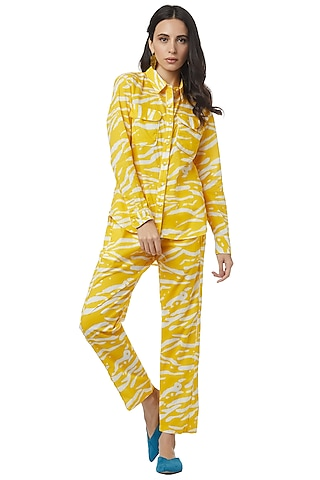 Yellow Printed Pants Set by Ankita