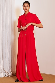 Red Double Georgette Jumpsuit by Ankita