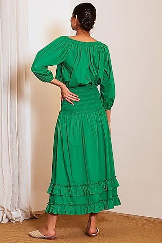 Emerald Green Top With Skirt by Ankita