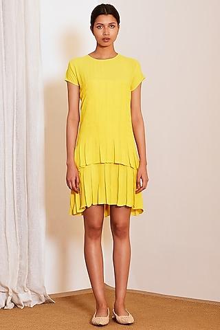 Yellow Pleated Mini Dress by Ankita