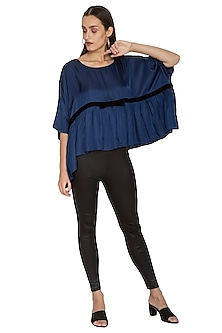 Blue Oversized Dolman Sleeved Top by Ankita