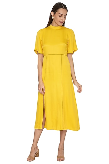 Yellow Detailed Dress With Bell Sleeves by Ankita