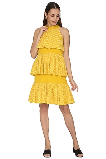 Yellow Cotton Satin Layered Dress by Ankita