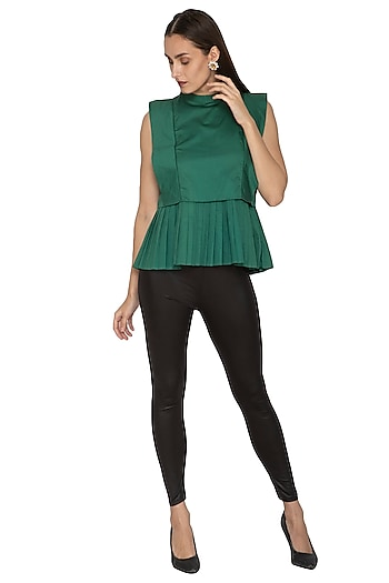 Green High Neck Detailed Top by Ankita