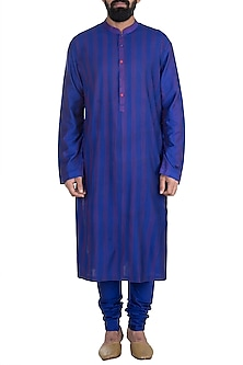 Royal Blue Pintucks Kurta Set by Anuj Madaan