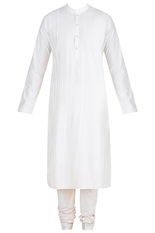 White Pintuck Stripes Kurta Set by Anuj Madaan