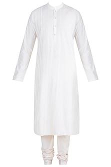 White Pintuck Stripes Kurta Set by Anuj Madaan