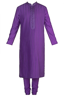 Purple Pintucks Kurta Set by Anuj Madaan