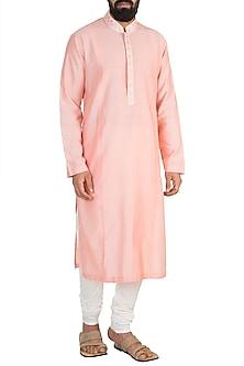 Blush Pink Embroidered Kurta Set by Anuj Madaan