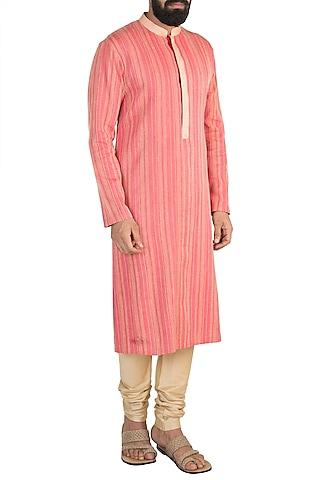 Red & Yellow Kurta Set by Anuj Madaan