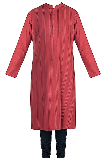 Red Anchor Dori Stripes Kurta Set by Anuj Madaan