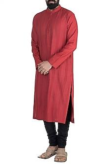 Red Anchor Dori Stripes Kurta Set by Anuj Madaan