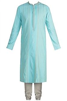 Turquoise Anchor Dori Stripes Kurta Set by Anuj Madaan