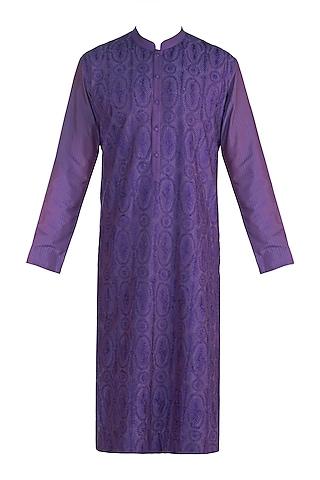 Purple Jaal Pattern Kurta by Anuj Madaan