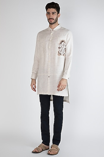 Grey Hand Painted Shirt by Ananke