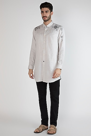 Grey Hand Painted & Printed Shirt by Ananke