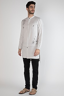 Grey Hand Painted Layered Shirt by Ananke