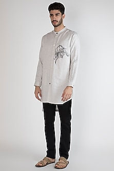 Grey Hand Painted Floral Motif Shirt by Ananke