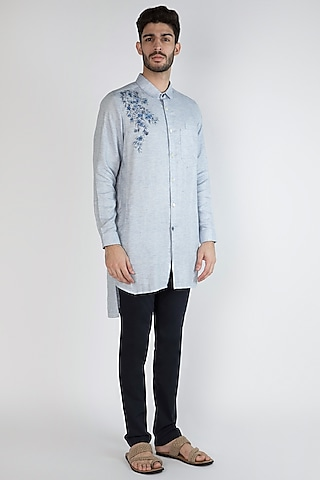 Sky Blue Hand Painted Shirt by Ananke
