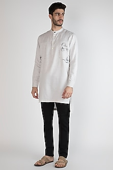 Grey Hand Painted Shirt Placket Kurta by Ananke
