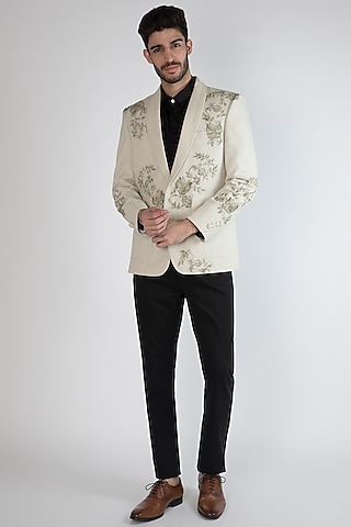 Off White Pomegranate Hand Painted Blazer by Ananke