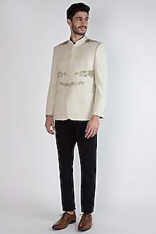 Off White Hand Painted Bandhgala Jacket by Ananke