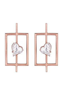 Rose Gold Plated Uncut Cubic Zirconia Earrings by Anaqa