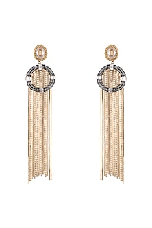 Gold Plated Cubic Zirconia Tassel Earrings by Anaqa