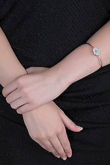 Rose Gold Plated Cubic Zirconia & Evil Eye Bracelet by Anaqa