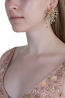 Gold Plated Cubic Zirconia Stud Earrings by Anaqa