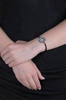 White Finish Evil Eye Adjustable Bracelet by Anaqa