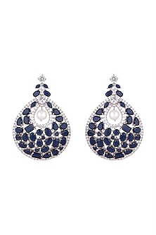 White Finish Cubic Zirconia & Sapphire Earrings by Anaqa