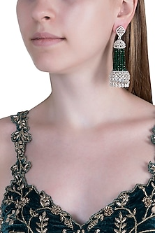 White Finish Semi-Precious Emerald Jhumka Earrings by Anaqa