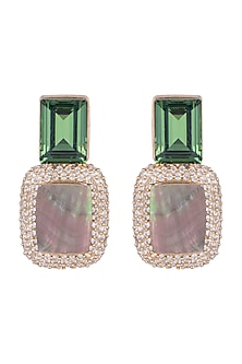 Gold Plated Green Cubic Zirconia Earrings by Anaqa
