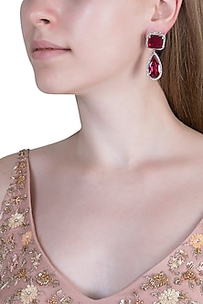 White Finish Semi-Precious Ruby Earrings by Anaqa
