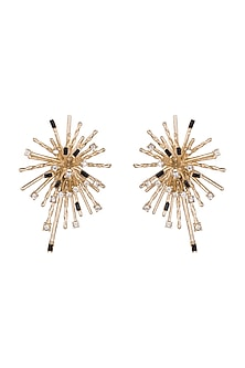 Gold Plated Cubic Zirconia Star Earrings by Anaqa